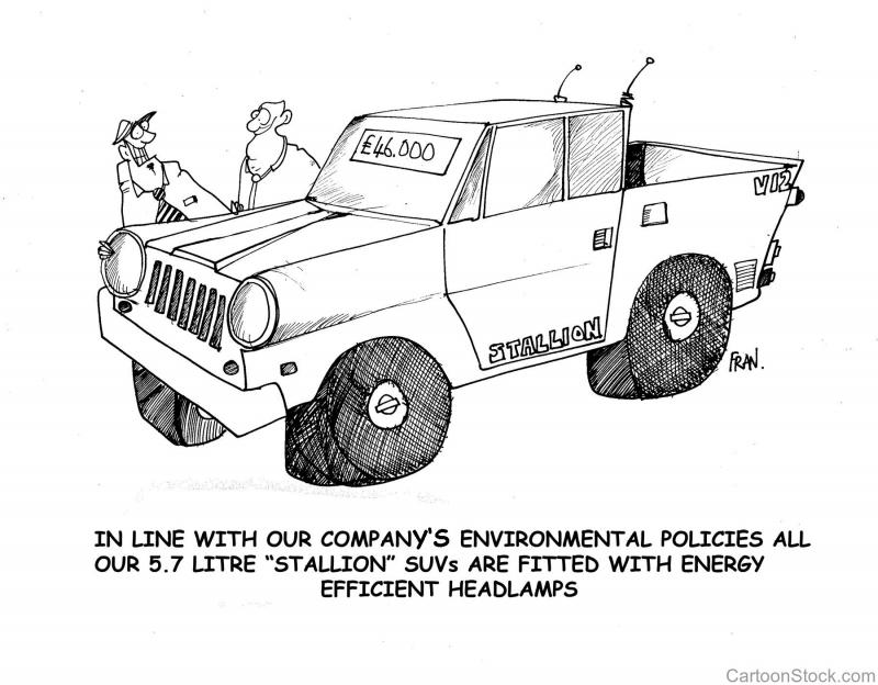 """Joke: In line with our company's environmental policies all our 5.7 litre """"Stallion"""" SUVs are fitted with energy efficient headlamps"""